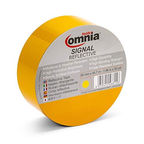 OMNIA TOOLS Signaalreflecterende band | Hi Vis zelfklevende reflecterende band | voor veiligheid, veiligheid, veiligheid, waarschuwing, goed zicht 's nachts 50 mm x 45,7 m geel
