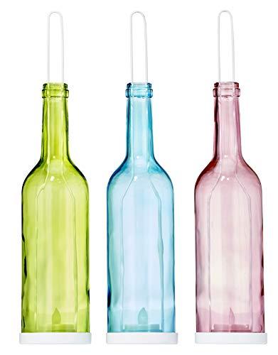 3-er Set LED Teelicht Deko-Lichterflasche | Echtglas | inkl. LED Teelicht mit Batterien | ideal als Außen- und Innendekoration | stehend oder hängend