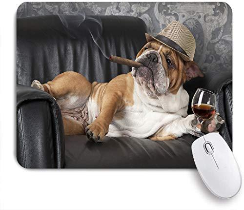 FOURFOOL Medium Mauspad,Humorvolle englische Bulldogge, die in einem schwarzen Ledersessel mit einer Zigarre und einem Glas Cognac ruht,Laptop Tischunterlage Schreibunterlage für Büro Gaming Mauspads