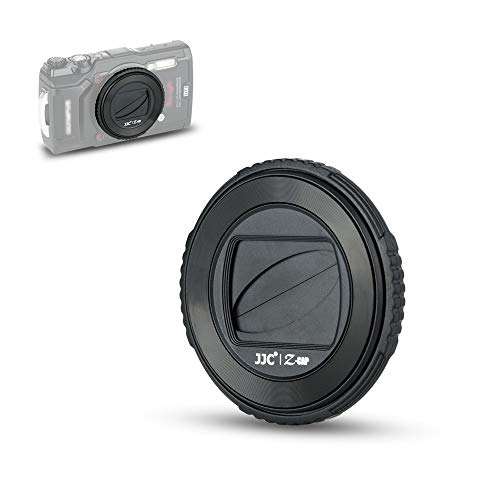 JJC LB-T01 Lens Cap Cover Protector for Olympus TG-6 TG6 TG-5 TG5 TG-4 TG4 TG-3 TG3 TG-2 TG2 TG-1 TG1 Tough Waterproof Camera, Rotate to Open or Close Leaves, Made of ABS Materials - Black