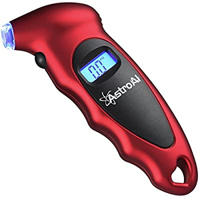 AstroAI Digital Tire Pressure Gauge 150 PSI 4 Settings for Car Truck Bicycle with Backlit LCD and Non-Slip Grip, Red from AstroAI