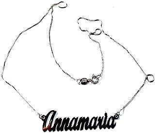 artigianale Collana 45 cm Personalizzata col Tuo Nome 2 Nomi COMPOSTI in Argento 925 Colore Argento SCRIVI Nome Mentre ACQ...
