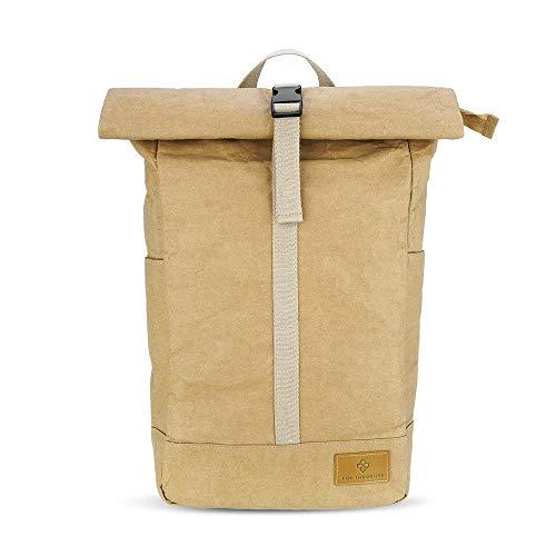 Rolltop Rucksack aus Papier mit Laptopfach, urban Daypack - für Büro, Uni und Freizeit, wasserfest, nachhaltig und vegan
