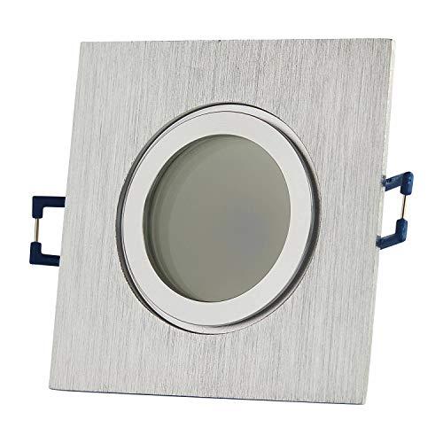 6x LED Einbaustrahler Set eckig Edelstahl gebürstet 5 Watt neutralweiß IP44 flach – 230V Einbau-spot dimmbar für Bad – Deckenleuchte 60-70mm Bohrloch Decken-Strahler Feuchtraum Dusche