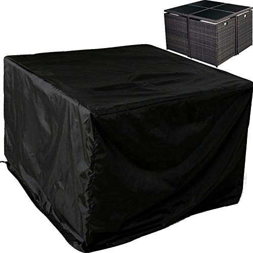 Patio Furniture Cover Set,Square Rattan Wicker Table Chair Set Cover Rectangular Outdoor Sectional Sofa Set Covers, Water Resistant Large Garden Furniture Set Care 47'x 47' x 29' Inch(120cm) Black