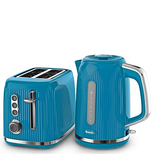 Breville Bold Blue Kettle and Toaster Set   with 1.7 Litre, 3KW Fast-Boil Electric Kettle and 2-Slice High-Lift Toaster   Blue and Silver Chrome [VKT226 and VTR014]