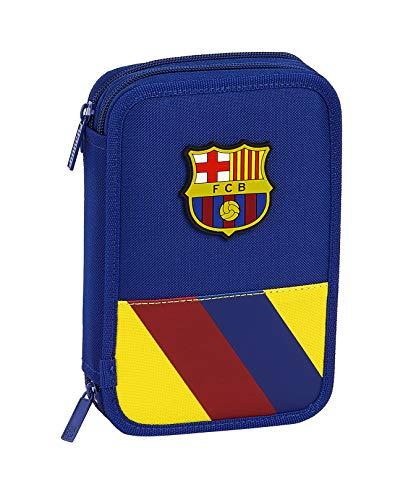 Safta 412025054 Plumier Doble, Estuche con 34 Piezas, niño FC Barcelona