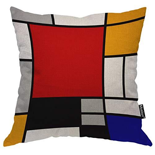 Moslion - Federa per cuscino geometrico astratto, geometrico, a replica continua, quadrata, per uomini, donne, ragazze, ragazzi, divano, camera da letto, soggiorno, 45,7 x 45,7 cm, multicolore