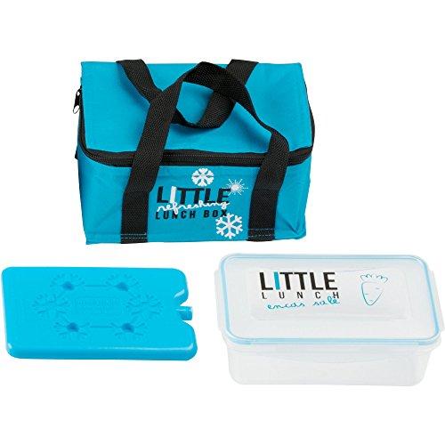 Farbige Mini 2,4 Liter Kühltasche Isoliertasche Thermotasche Picknicktasche mit flachem farbigen 200 ml Kühlelement Kühlakku und 1,1 L Brotdose Lunchbox (Blau)