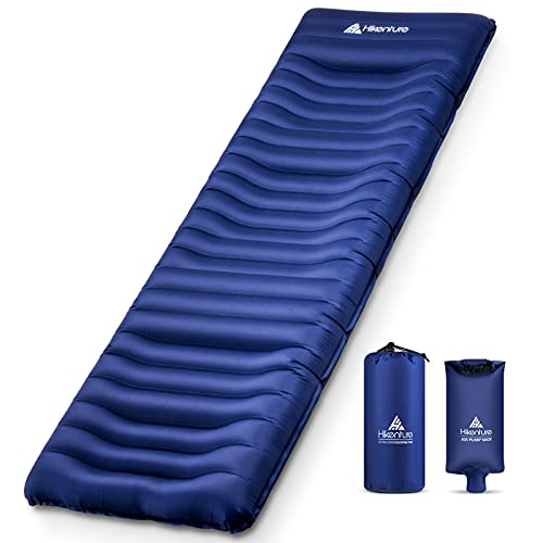 Hikenture Camping Sleeping Pad with Built-in Pillow,Ultra-Thick 5 Inch, Backpacking Sleeping Mat,Ultralight,Inflatable &Compact Camp Air Mattress for Tent,Cot,Hammock(1100-B)