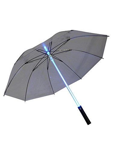 grau.zone LED Regenschirm transparent und durchsichtig mit Beleuchtung in bunten Farben