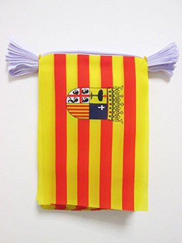 AZ FLAG Guirnalda 6 Metros 20 Banderas de ARAGÓN 21x15cm - Bandera ARAGONESA 15 x 21 cm - BANDERINES