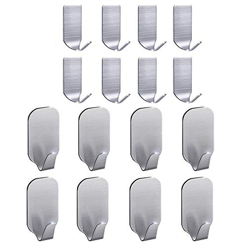FOTYRIG Adhesive Hooks Wall Hooks Hangers Heavy Duty Waterproof Stainless Steel Sticky Hanger Hook for Kitchen Utensils, Keys, Robe, Coat, Towel, Bags-Bathroom, Home, Kitchen, Office (Pack of 16) Massachusetts