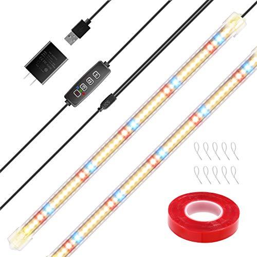 YASBED Lámpara LED para plantas, 3500 K, rojo y azul, con espectro completo y temporizador, barra para plantas, 10 niveles regulables para plantas de interior, pack de 2