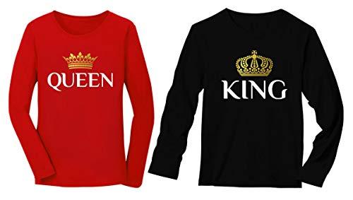 Camiseta de manga comprida para presente de Dia dos Namorados King & Queen combinando para casais, King Preto/Queen Red, King Medium / Queen X-Large