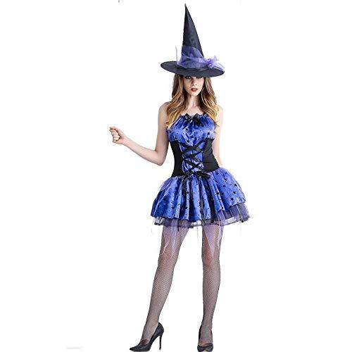 Fashion-Cos1 Halloween Hexe Erwachsene Sexy Karneval Party Weiblichen Anzug Kostüm Für Frauen Lila Schwalbenschwanz Hosenträger Kleid Hut (Size : M)