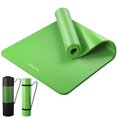Reodoeer ヨガマット トレーニングマット エクササイズマット ゴムバンド 収納ケース付 厚さ10mm(グリーン)