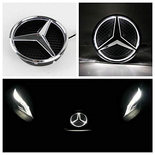 Emblema para Mercedes Ben-z 2013 – 2015, insignia de rejilla delantera de coche, logo iluminado con capucha DRL para Mercedes Benz A B C E R GLK ML GL CLA CLS Clase, luz blanca