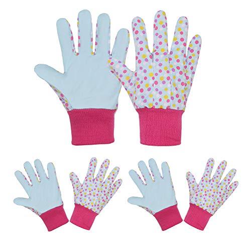 Lot de 3 paires de gants de jardinage doux et confortables pour enfants de 5 à 9 ans, S, Pois bleus, 3