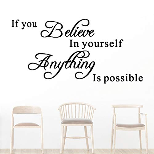 Beyonds Removable If You Belive Yourself Everything is Possible Wall Decal Religious Home Décor Christian Quote Wall Sticker Handwriting Art Letters Bible Bedroom Living Room