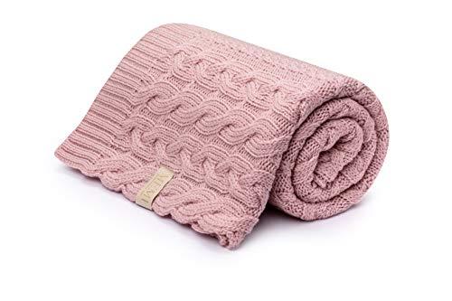 Manta para bebé, manta de 100% lana de merino orgánica, 80 x 100 cm, colección Premium, MEMI (rosa powder Pink)