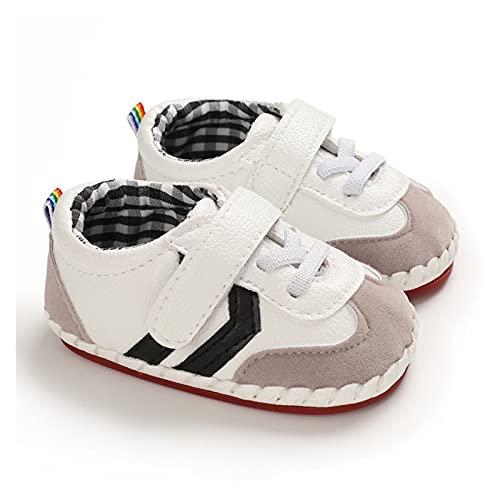 FURONGWANG6777BB Recién Nacido a Rayas PU Suela de Goma de Cuero Suave Suave sin Deslizamiento Cuna Primeros Caminantes Baby Girls Boys Shoes (Baby Age : 13-18 Months, Color : Black)