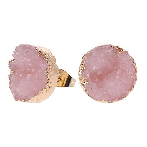 Pendientes de tuerca de piedra Druzy para mujer irregulares de cuarzo sintético Geode Crystal Jewelry, Piedra drusa y aleación,