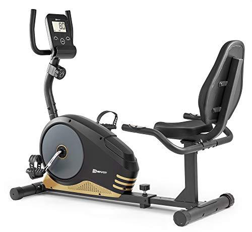 Hop-Sport Root Liegeergometer - Liegeheimtrainer mit Handpulssensoren, 9,5 kg Schwungmasse, 8 Widerstandsstufen - Sitzergometer max. Benutzergewicht 120 kg (Gold)