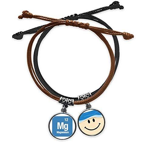 Bestchong Mg - Pulsera de magnesio con elementos químicos y cuerda para la mano y la cara sonriente