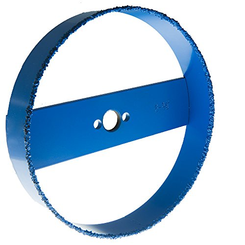 """Blue Boar Recessed Light Carbide Grit Hole Saw 6-3/8"""" dia for 6 inch lights: fast cutting in drywall, lath & plaster, Hardi board: easy plug removal uses standard 5/8 18 thread hole saw arbor adptr"""