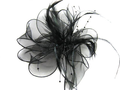 Schwarz Blume Feder Perlen Corsage Haar Clips Fascinator Notebooktasche Ascot Races Hochzeit
