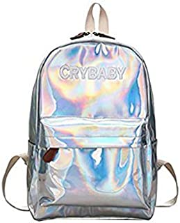 Yuns Holographic Laser Leather Backpacks Bookbag Travel Casual Daypack for Girls and Boys (Silver)
