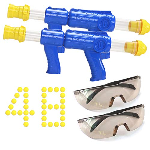 Cihely Shooting Toy Air for Kids Foam Play Shooting Games with 2 Air Pump Guns Party Toys 48 Soft Foam Balls 2 Glasses Protective Family Game