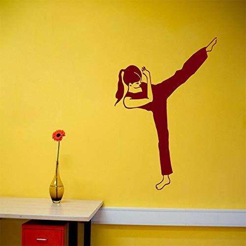 Vinilo para Pared Calcomanía de Habitación Chica Deportes Artes Marciales Decoración Interior del Hogar Interior  Habitación Adhesiva Chica58 x 60 cm
