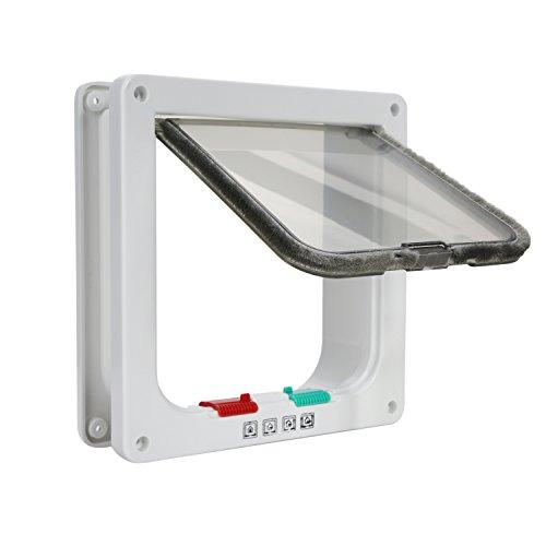 TKOOFN Gattaiola Porta Basculante per Gatti e Cani, Entrata e Uscita Controllabile, Materiale ABS, Dimensione Interna 18.5 x 19.8 x 5.5cm (Colore Bianco)