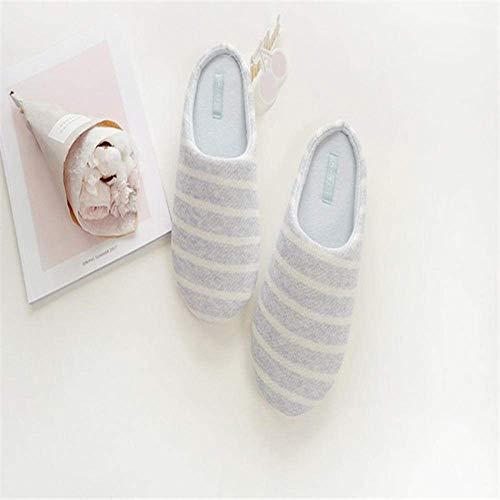 CDNS Zapatillas de mujer Casual Home, Blue Stripe Zapatillas de rayas frescas y simples Interior Otoño Ocio Zapatillas cómodas de luz suave Zapatillas de algodón sueltas para mujer y Lt; Br &