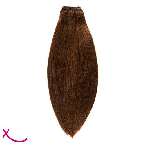 Extiff - Tissage cheveux naturel Lisse - 55 cm 22pouces - Rémy Hair (4 - Chocolat)