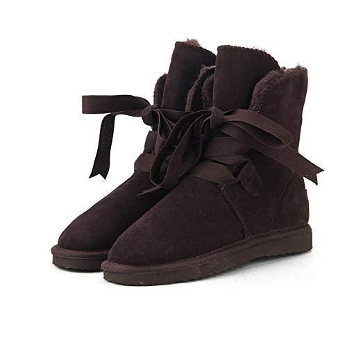 ZapatillascasaNuevas Botas De Nieve para Mujer De Moda Botas De Invierno BotasCálidas para Mujer Zapatos 13 Chocolate