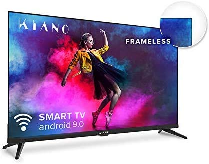 Kiano Elegance TV 32' Pouces Android TV 9.0 [Téléviseur 80 cm Frameless Metal CASING sans Cadre TV 8GB] (HD, Smart TV, Netfilx, Youtube, Facebook) Triple Tuner DVB-T2 T/C/S2, CI, PVR, WiFi, Classe A