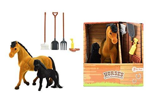 Toi-Toys 37044 Pferd und kleines Ponny mit Accessoires