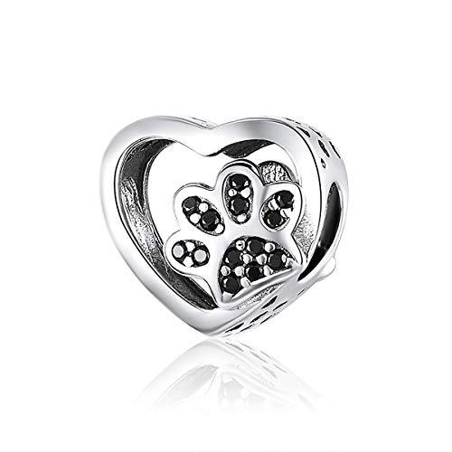 Charm a forma di zampa di gatto in argento Sterling 925 con ciondolo a forma di animale domestico con zirconi neri, adatto per braccialetti Pandora, gioielli e amanti degli animali