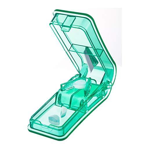 Tablettenteiler für Große und Kleine Tabletten, Blibro Tablettenschneider mit Aufbewahrungsfach-Grün