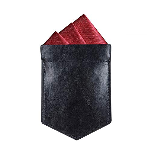 ONLVAN Einstecktuchhalter Leder Einstecktuch Halter für Herren Anzug Taschentuch - Schwarz - Mittel
