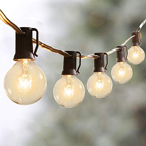 Outdoor String Lights, 2 Pack 50Ft G40 Globe String Lights with 54 Clear Bulbs (4 Spare), Waterproof Patio String Lights Connectable Hanging Lights Decorative Backyard Porch Garden, 25Feet/Pack