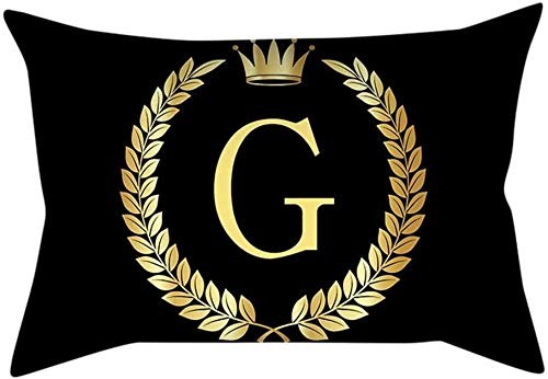 Nyfcc Pillowcase, Pillow Cover Black and Gold Letter Pillowcase Sofa Cushion Cover Home Decor, Home & Garden (Color : I, Size : -)