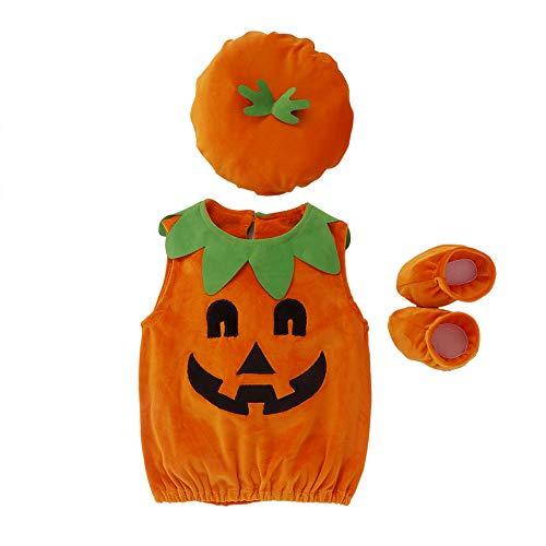 Disfraz Halloween para Unisex Bebé Conjuntos Calabaza Mameluco sin Manga con Sombreros y Zapatos 3Pcs Fiesta Cosplay Ropa (Naranja, 6-12 Meses)
