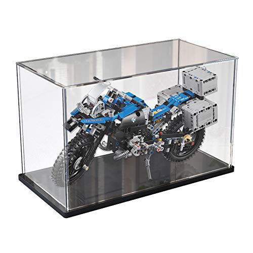 Elepure -  Caja de cristal acrílico transparente para colección Lego # Figura mejorada # Caja de visualización antipolvo con base para modelo de moto ensamblada Lego (negro,  40 x 20 x 25 cm)