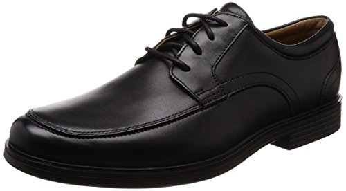 Clarks Un Aldric Park, Zapatos de Cordones Derby Hombre, Negro (Black Leather), 43 EU