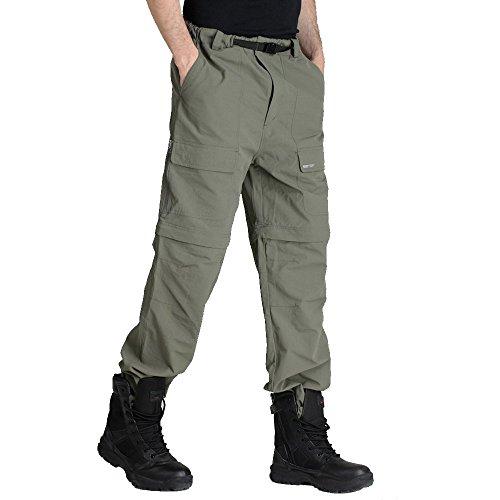 emansmoer Homme Léger Jambe Droite Zip Off Pantalon Quick Dry Respirante Outdoor Sport Camping Randonnée Pêche Pants (XX-Large, Armée Verte)