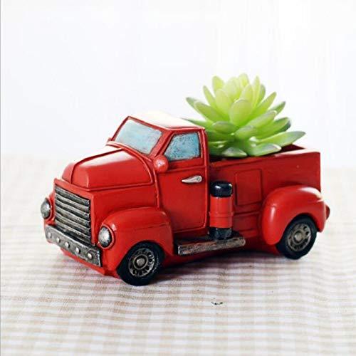 TWOBEE 1 Unidades Retro camión sembradora Maceta Furgoneta clásico Plantas suculentas macetas casa jardín indooor Exterior descotive balcón Maceta (Color : Red)
